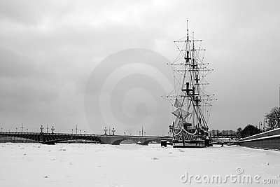 A ship on Neva in Saint Petersburg