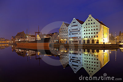 The ship at night in Gdansk