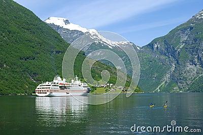 Ship in the ocean, Geiranger fjord