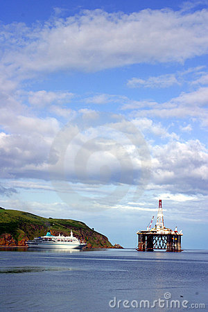 Ship and oil rig