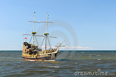 Ship on open seas