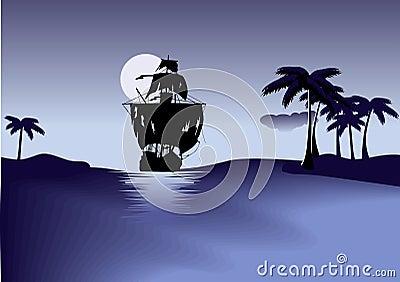 Ship of pirates on blue sea.