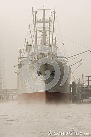 Ship moored in Hamburg port