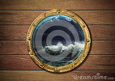 Ship porthole with storm