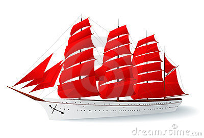 Ship with red sails (caravel)