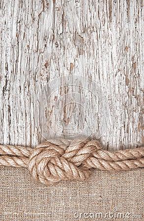 Free Ship Rope, Burlap And Wood Background Stock Photo - 35775250