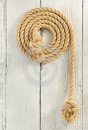 Free Ship Rope On Wood Royalty Free Stock Photography - 64962717
