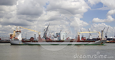 Ship in Rotterdam Harbor