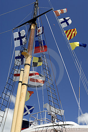 Ship s Mast With Naval Flags