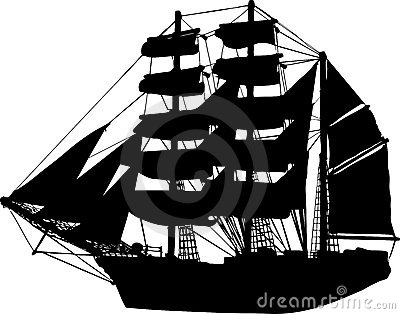 Ship Sailboat Vector Silhouette