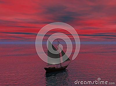 Ship Sailing toward Horizon