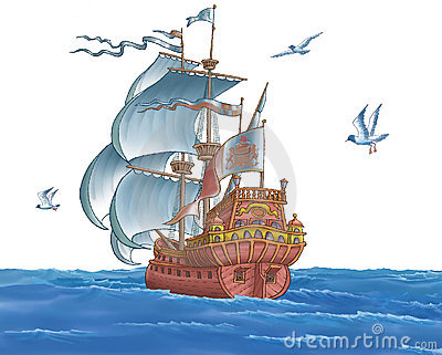 The ship with sails