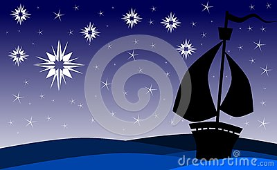 Ship on sea at night with stars