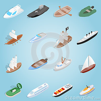 Ship set icons, isometric 3d style Vector Illustration
