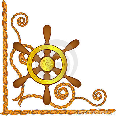 Ship steering wheel and flags