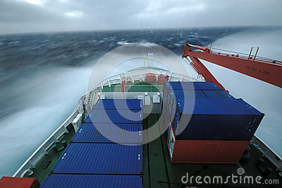 Ship in stormy seas