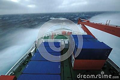 Ship in stormy seas