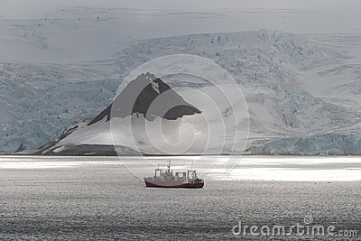 Ship and Sunlight in Antarctica