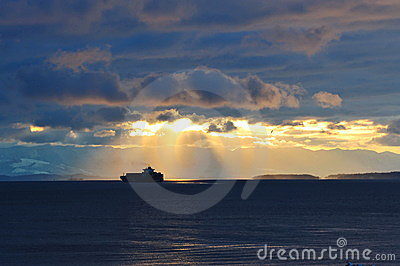 Ship traveling in the strait