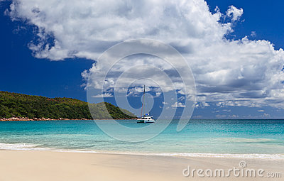 Ship on tropical beach