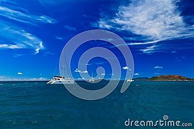 Ship on tropical beach
