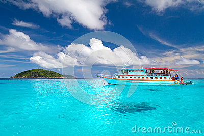 Ship on the turquoise water of Andaman Sea
