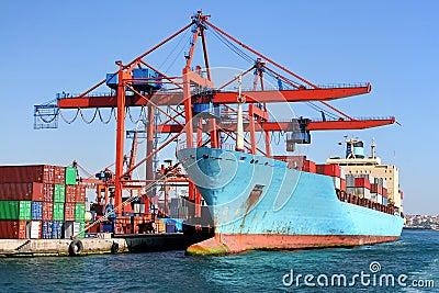 Ship under loading in docks