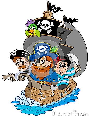 Ship with various cartoon pirates