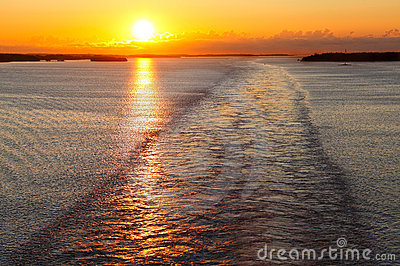 Ship wake at sunset