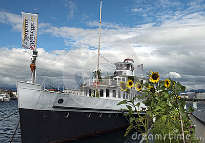 Ship for walks on Lake Geneva, Switzerland Editorial Photo