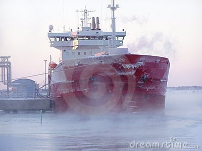 Ship in winter
