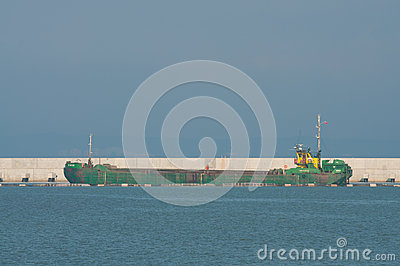 Ship working on the construction of LPG terminal Editorial Stock Photo