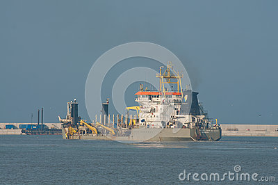 Ship working on the construction of LPG terminal Editorial Photo