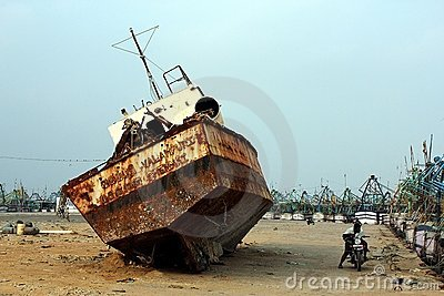 Ship wreck in Kanyakumari, India Editorial Stock Photo