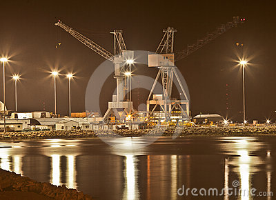 Shipbuilding at Night, Newport News, Virginia
