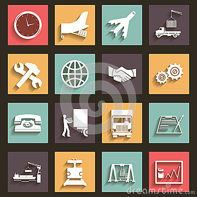 Free Shipment And Transportation Icons Symbols Flat Design Style Vector Stock Image - 38603631