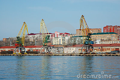 Shipment pier in russian seaport Vladivostok.