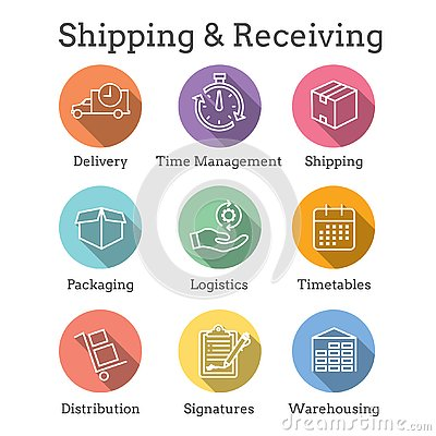 Free Shipping And Receiving Icon Set With Boxes, Warehouse, Checklist, Etc Stock Photography - 145557722