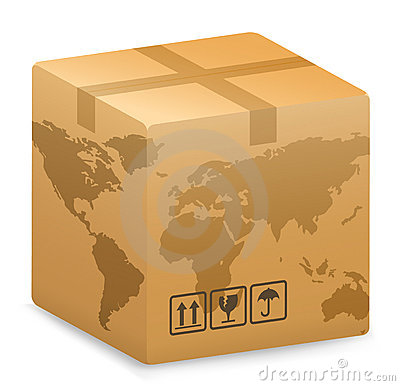 Shipping Box with World Globe Map