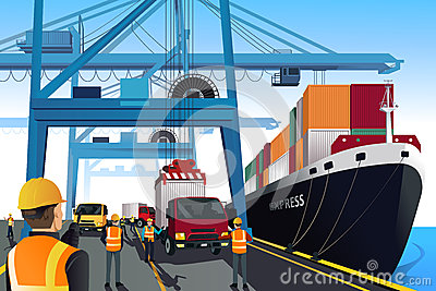 Shipping port scene