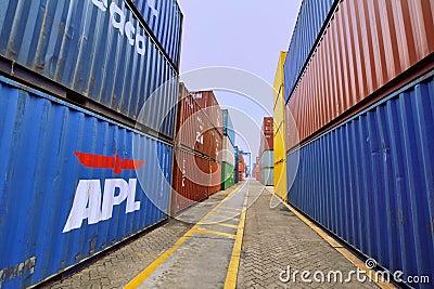 Shippment and cargo in Xiamen container yard, Fujian, China Editorial Photo