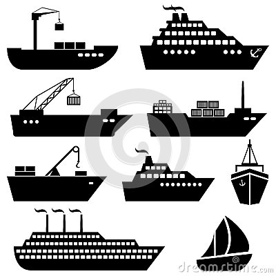 Free Ships, Boats, Cargo, Logistics And Shipping Icons Royalty Free Stock Photography - 43089577