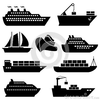 Free Ships, Boats, Cargo, Logistics And Shipping Icons Royalty Free Stock Images - 44235089