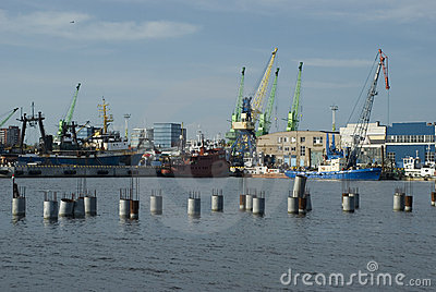 Ships and cranes in the harbour