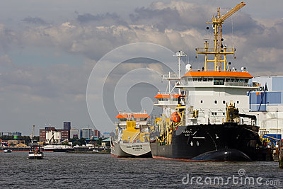 Ships Docked on the Maas Editorial Stock Image
