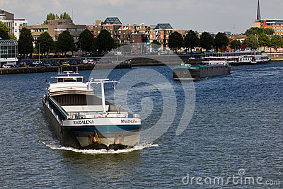 Ships on the Maas Editorial Stock Image