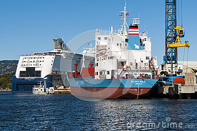Ships in Oslo port Editorial Stock Photo