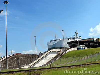 Ships at the Panama Canal Editorial Stock Photo