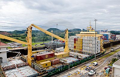 Ships in the Panama Canal Editorial Photography