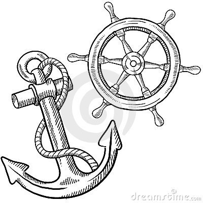 Doodle style ships anchor and wheel illustration in vector format.